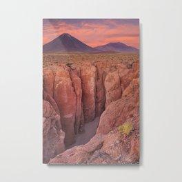 I - Narrow canyon and Volcan Licancabur, Atacama Desert, Chile at sunset Metal Print