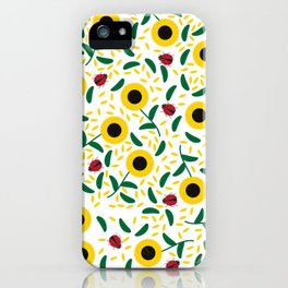 Sunflowers and Ladybugs Pattern iPhone Case
