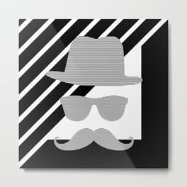 Hat - sunglass - mustage - face - black and gray. Metal Print