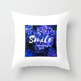 laugh every day smile everyday flower violet blue Throw Pillow