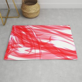 Red and smooth sparkling lines of pink ribbons on the theme of space and abstraction. Rug