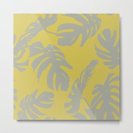 Palm Leaves Retro Gray on Mod Yellow Metal Print