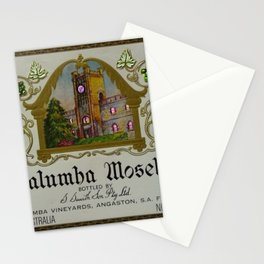 Vintage Pink Clock Yalumba Moselle Wine Bottle Label Print Stationery Cards