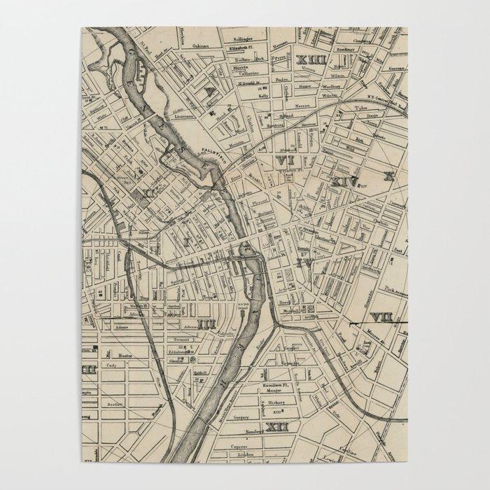 Vintage Map Of Rochester NY (1872) Poster By Bravuramedia