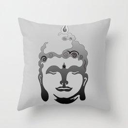 Buddha Head grey black Design Throw Pillow