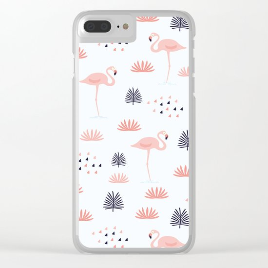 Flamingos Pattern Clear iPhone Case