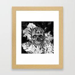 Black White Boho Skull Framed Art Print