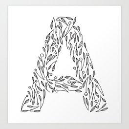 Floral Alphabet // The Letter A Art Print