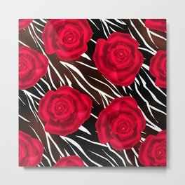 Red roses on tiger background. Abstract creative pattern. Metal Print