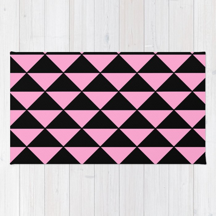 pink and black rug. Graphic Geometric Pattern Minimal 2 Tone Infinity Triangles (Pastel Pink \u0026 Black) Rug And Black