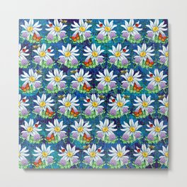 Flowers and bugs pattern Metal Print