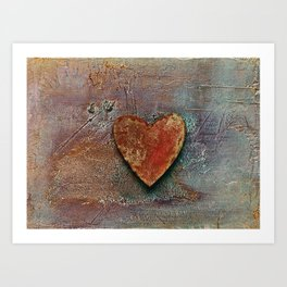 Rusty grunge love heart Art Print