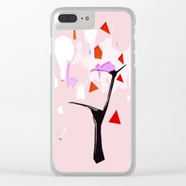 Powder Pink Tree Abstract Clear iPhone Case