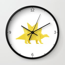 Origami Stegosaurus Flavum Wall Clock