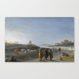 An Italianate Landscape with an unidentified subject from the Old Testament, Cornelis van Poelenburc Canvas Print