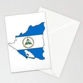 Nicaragua Map with Nicaraguan Flag Stationery Cards