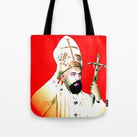 chad wys Tote Bags featuring pope chad by Chad M. White