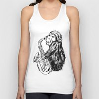 saxophone Tank Tops featuring Musician monkey saxophone by Jemma Banks