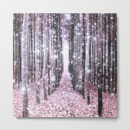 Magical Forest Pink Gray Elegance Metal Print