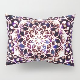 'Glowing Namaste' Blue Purple Pink White Mandala Pillow Sham