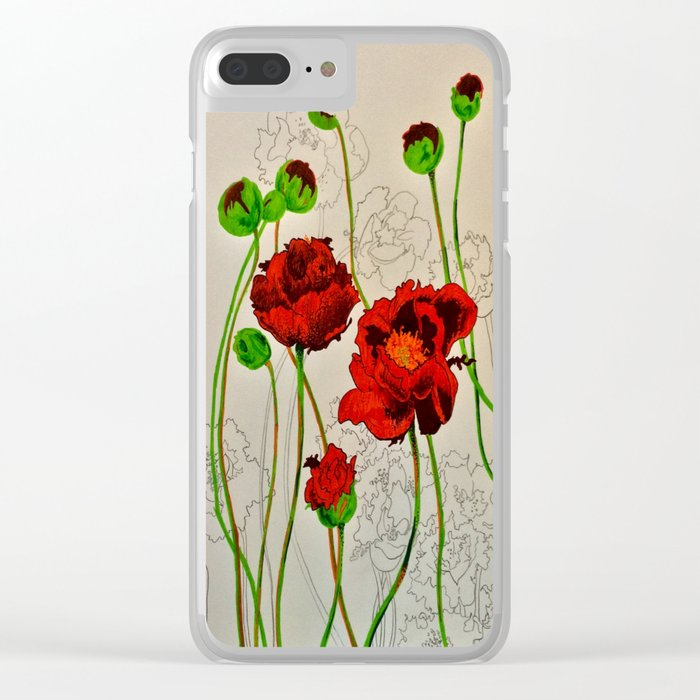 Very Red Flowers Clear iPhone Case