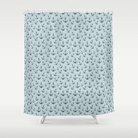 anchors Shower Curtains featuring Nautical Anchors by Zen and Chic