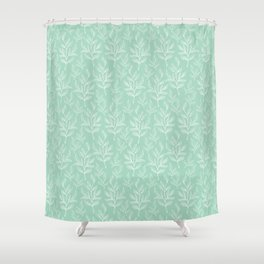 Twig Leaves - Bluish Gray Pastel Color Shower Curtain