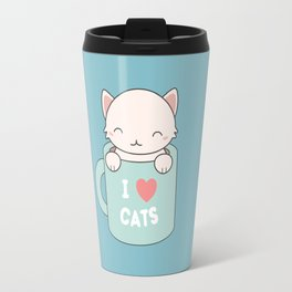 Kawaii Cute I Love Cats Travel Mug