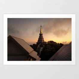 Temple in the mountains of northern Thailand during sunset. Fine art photography - wall art Art Print