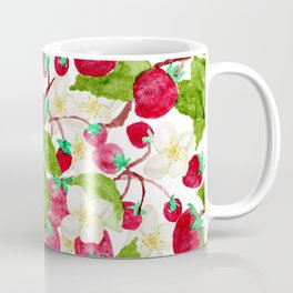 Watercolor red green black white strawberry floral Coffee Mug