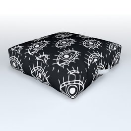 Eye of wisdom pattern - Black & White - Mix & Match with Simplicity of Life Outdoor Floor Cushion