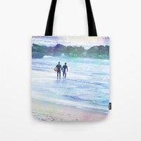 boys Tote Bags featuring Surfer Boys by Teresa Chipperfield Studios