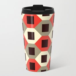 Geometric Pattern #66 (red hexagons) Travel Mug