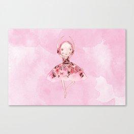 Isabella Bellarina Dancing on Pink Watercolour Canvas Print