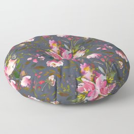 Pretty Pink Blossom on Charcoal Floor Pillow