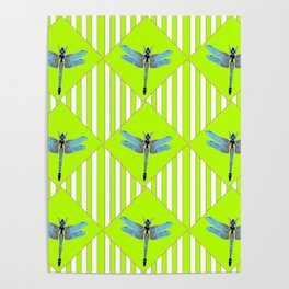 LIME GREEN COLOR BLUE  DRAGONFLY GEOMETRIC ART Poster