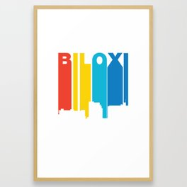 Retro 1970's Style Biloxi Mississippi Skyline Framed Art Print