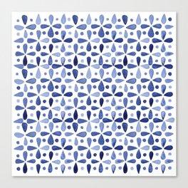 Imperfect Geometry Blue Petal Grid Canvas Print