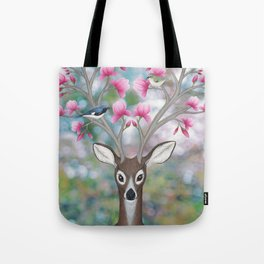 white tailed deer, black throated blue warblers, & magnolia blossoms Tote Bag