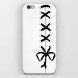 Laced Black Ribbon on White iPhone Skin