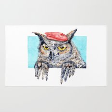 Serious Horned Owl in Red Beret  Rug