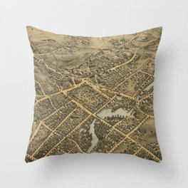 Vintage Pictorial Map of Stamford CT (1875) Throw Pillow