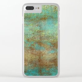 Turquoise and Copper Abstract Clear iPhone Case