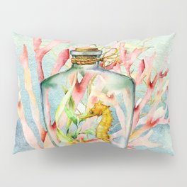 Watercolor Under Sea Collection: Seahorse in Bottle Pillow Sham