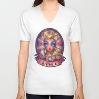 disco V-neck T-shirts featuring DISCO pinup by Tim Shumate