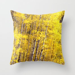 Yellow Grove of Aspens Throw Pillow