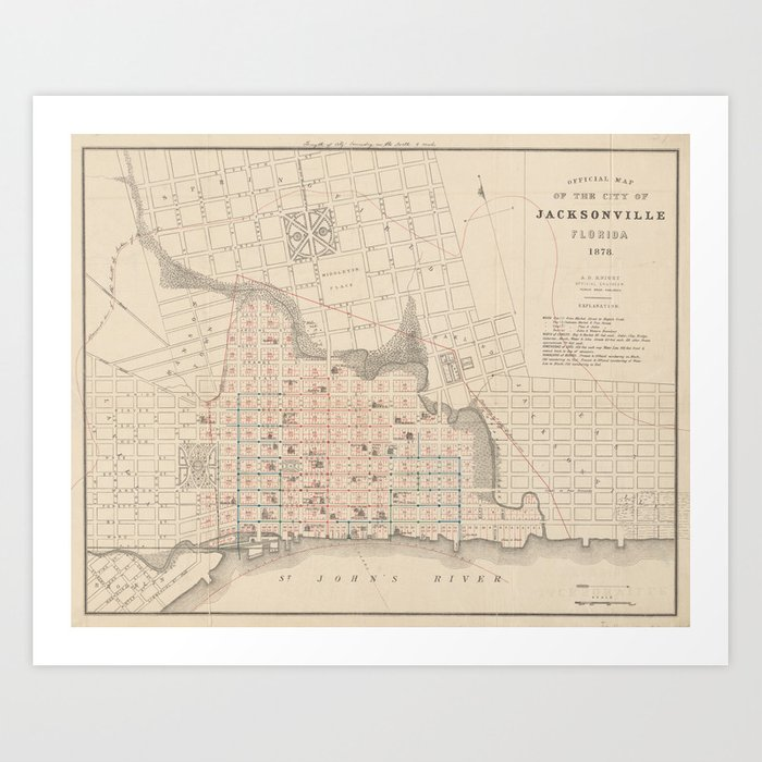 Vintage Map of Jacksonville FL (1878) Art Print by bravuramedia ...