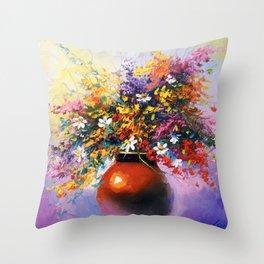 A bouquet of summer flowers Throw Pillow