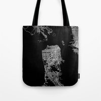 san francisco map Tote Bags featuring san francisco map by Line Line Lines