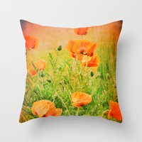 poppies Throw Pillows featuring POPPIES by Teresa Chipperfield Studios